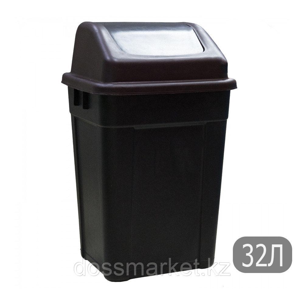 Ведро мусорное с клапаном, черное, 32л