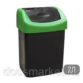 Ведро мусорное с клапаном, черное, 7л
