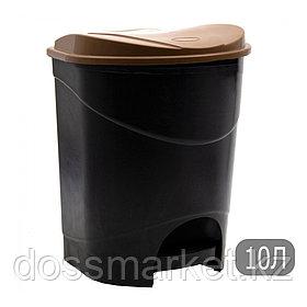 Ведро мусорное с клапаном, с педалью, черное, 10л