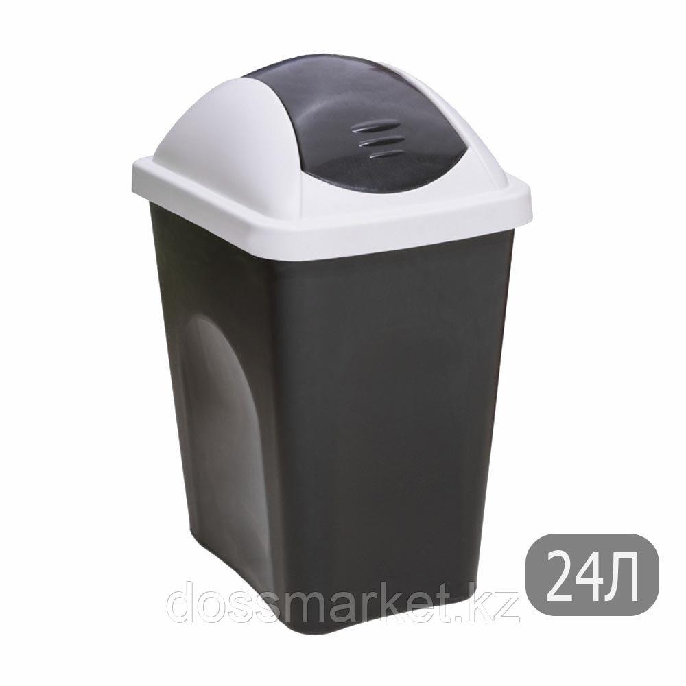 Ведро мусорное с клапаном, черное, 24л., с наклейкой