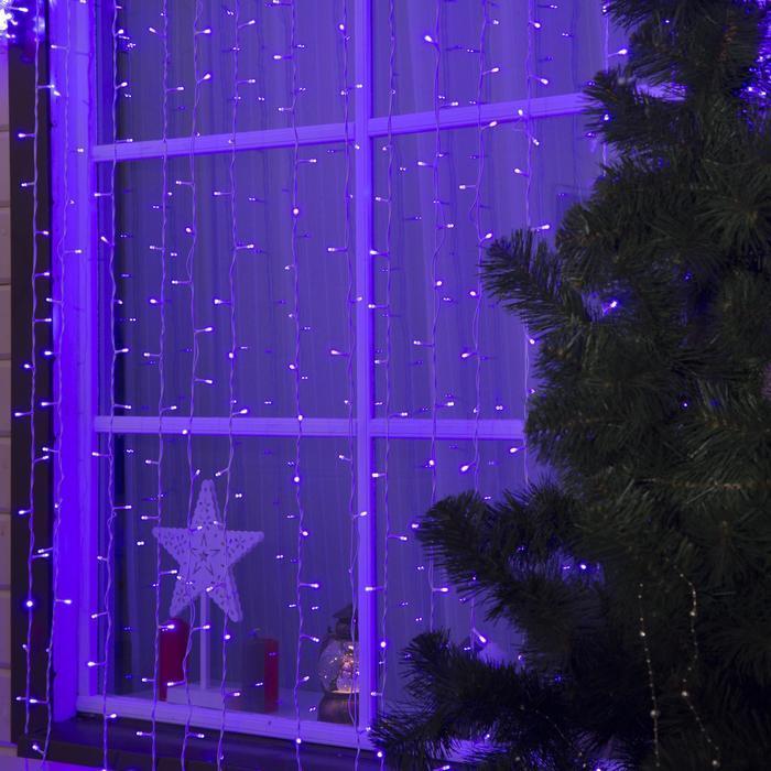 """Гирлянда """"Занавес"""" 2 х 6 м , IP44, УМС, белая нить, 1440 LED, свечение фиолетовое, фиксинг, 220 В"""