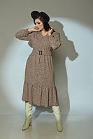 Женское осеннее бежевое платье Angelina 611 46р.