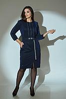 Женское осеннее синее большого размера платье Angelina 614 48р.