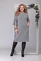 Женское зимнее трикотажное серое спортивное большого размера платье Michel chic 2038 серый 54р.