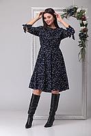 Женское осеннее синее большого размера платье Michel chic 994 горох 46р.
