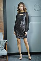 Женское осеннее шифоновое черное нарядное платье Fantazia Mod 3817 44р.