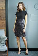 Женское осеннее черное нарядное платье Fantazia Mod 3836 42р.