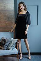 Женское осеннее шифоновое черное нарядное платье Fantazia Mod 3826 42р.