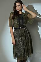 Женское осеннее зеленое нарядное большого размера платье Angelina 610 золотисто-оливковый 48р.