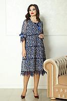 Женское осеннее шифоновое синее нарядное большого размера платье Solomeya Lux 774 48р.
