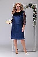 Женское осеннее бархатное синее нарядное большого размера платье Michel chic 2039 синий 56р.