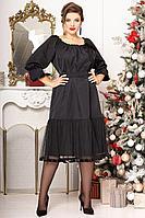 Женское осеннее шифоновое черное большого размера платье Мода Юрс 2620 черный 52р.
