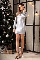 Женское осеннее нарядное платье LadisLine 1302 серебро_на_синем 44р.