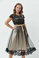 Женское осеннее кружевное черное нарядное большого размера платье Anastasiya Mak 772 черный 50р.
