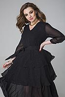 Женское осеннее черное нарядное платье ELLETTO LIFE 1808 черный 44р.