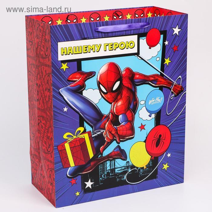 """Пакет ламинат вертикальный """"С Днем рождения"""", Человек-паук, 40х49х19 см - фото 2"""