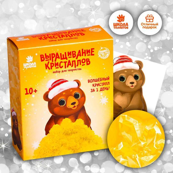 Набор для творчества «Лучистые кристаллы»: Медвежонок в колпачке, цвет жёлтый 12*5см
