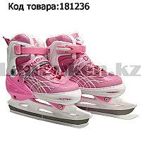 Коньки для льда раздвижные с меховой подкладкой регулируемый размер Dingxing S, M, L розовый цвет