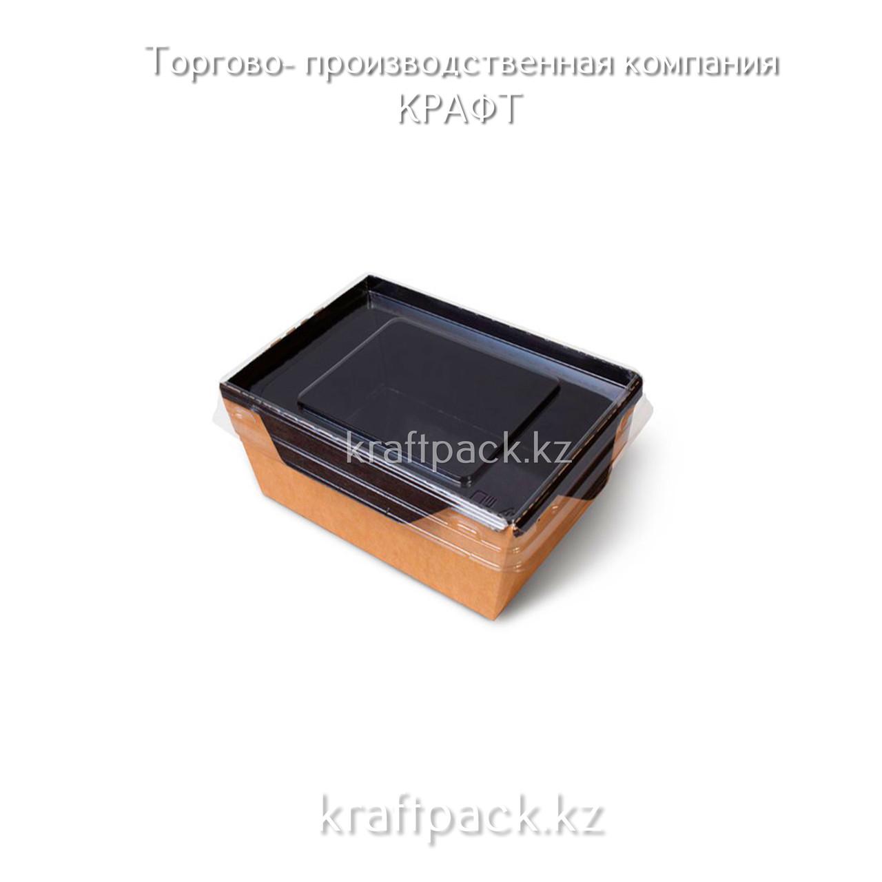 Контейнер, салатник с прозрачной крышкой  Black Edition 350мл 100*85*55  DoEco (50/350)