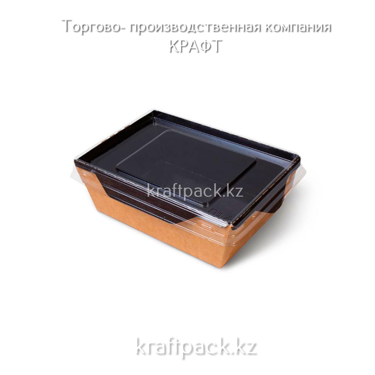 Контейнер, салатник с прозрачной крышкой  Black Edition 450мл 125*75*55 DoEco (50/400)