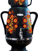 Самовар ДО-428 4л/1л,черн/керам. Жел/кр. цветы
