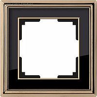 Рамка на 1 пост WL17-Frame-01, цвет черный, золото