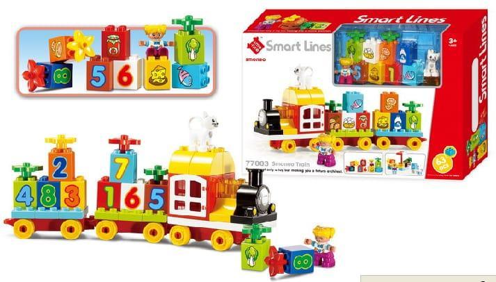77003 Констр. для малышей паровозик Smart Lines 63 дет. 31*45