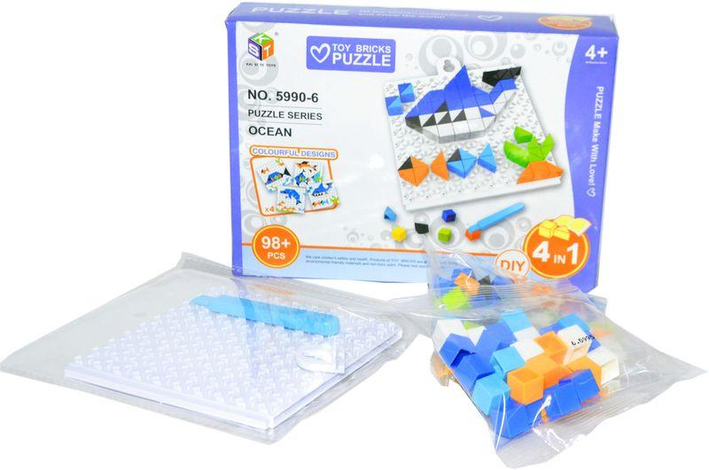 5990-6 Пазл пластиковый океан Toy Bricks puzzle 4 in 1 разные 20*14