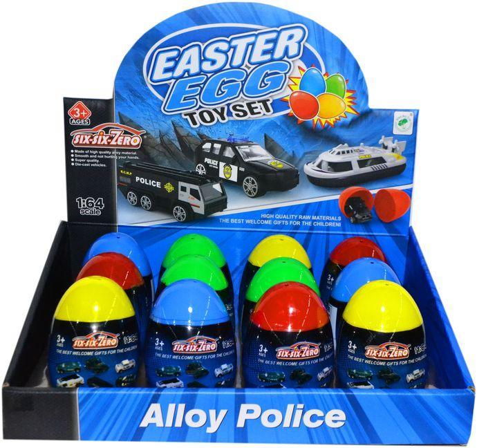 660-A210 Полицейские машинки в яйце сюрпризе из 12шт цена за 1шт 9*6см