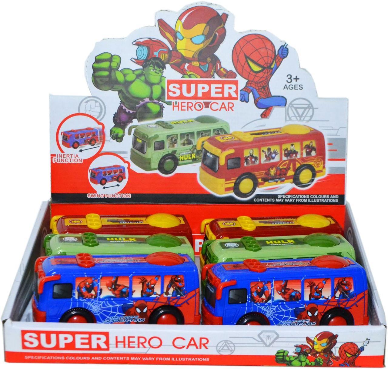 958-3C Супер герой автобус 3 вида из 6шт цена за 1шт 12*6см