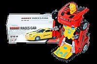 FW-2039 Спортивная машина трансформация в робота(музыка,свет,движения) 21*8см