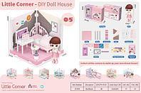 LC3355 Мини комната: Спальня с куклой (конструктор собираем домик)28*21см