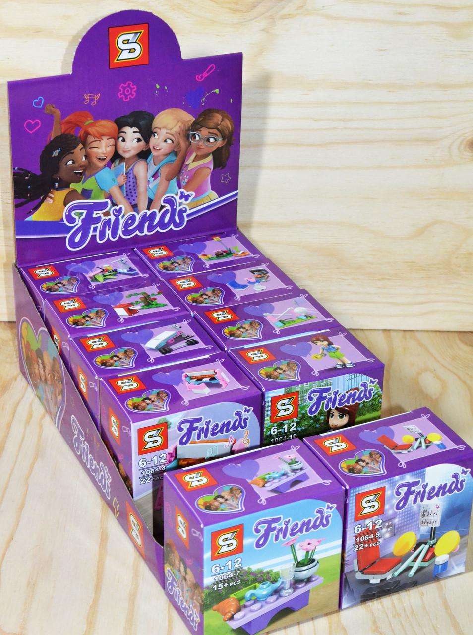 1064 FRIENDS Констр. для девочек парк развлечений 10 видов, 10шт, цена за уп. 7*7см