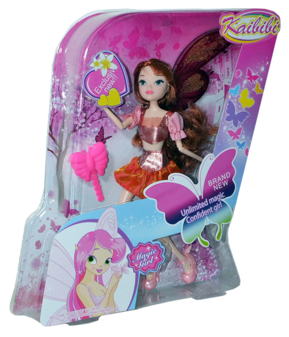BLD 034-2 Winx фея кукла с крыльями (конечности гнутся)34*26см