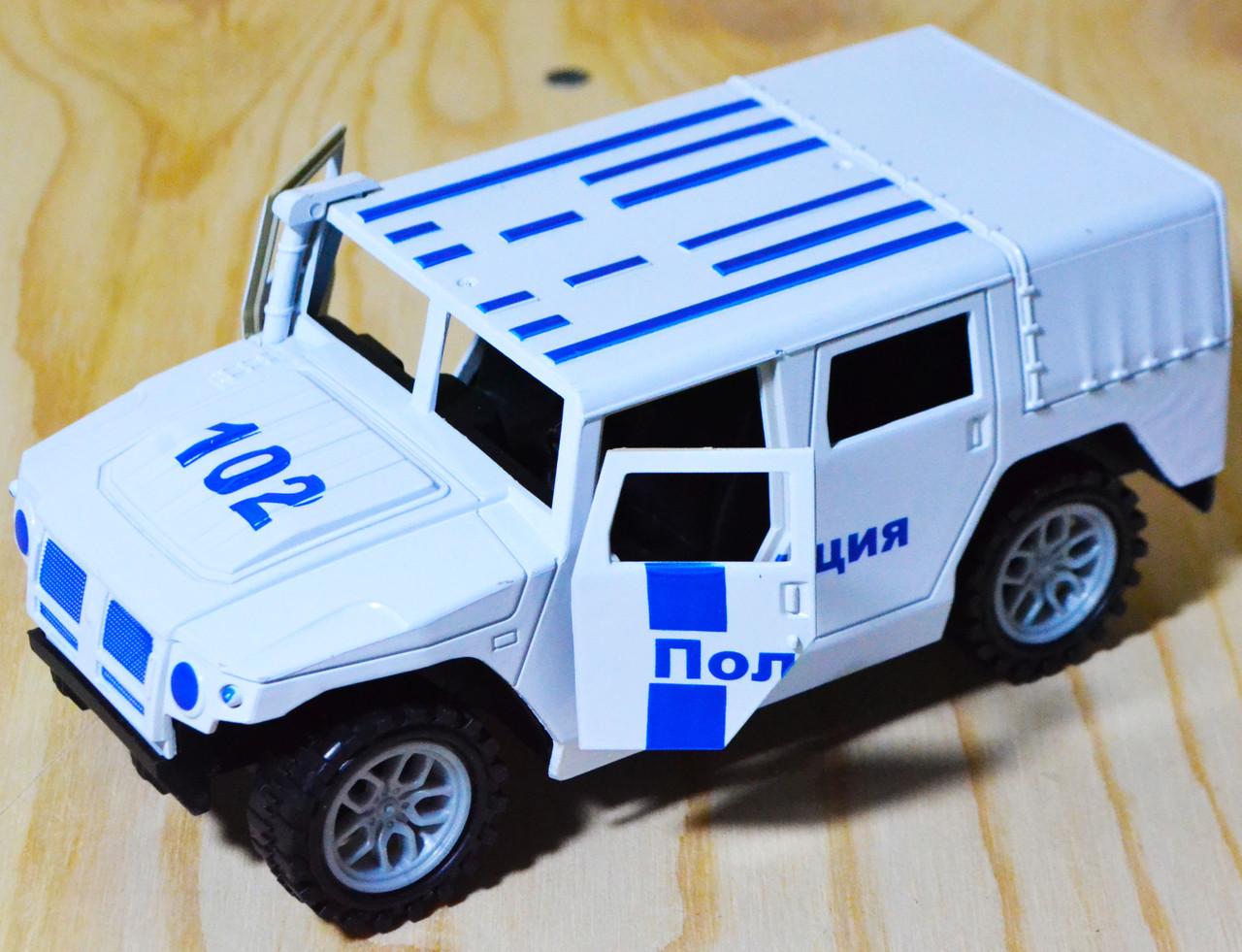 102 Хамер полиция, двери открываются, в пакете, 15*7см