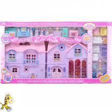 8034-1 Домик с мебелью с балконом Happy Family Pin House 73*49см