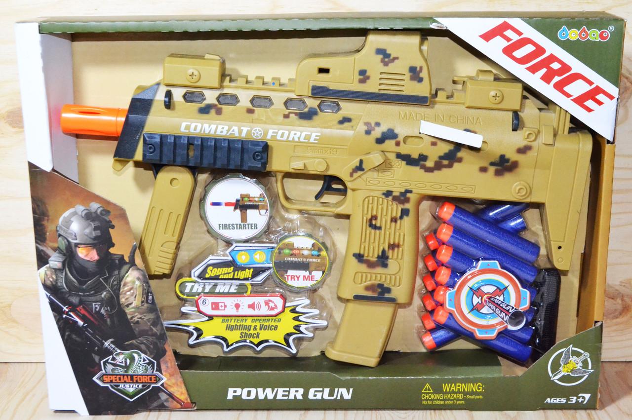 34000 POWER GUN военный автомат музыкальный,12патронов, 37*26см