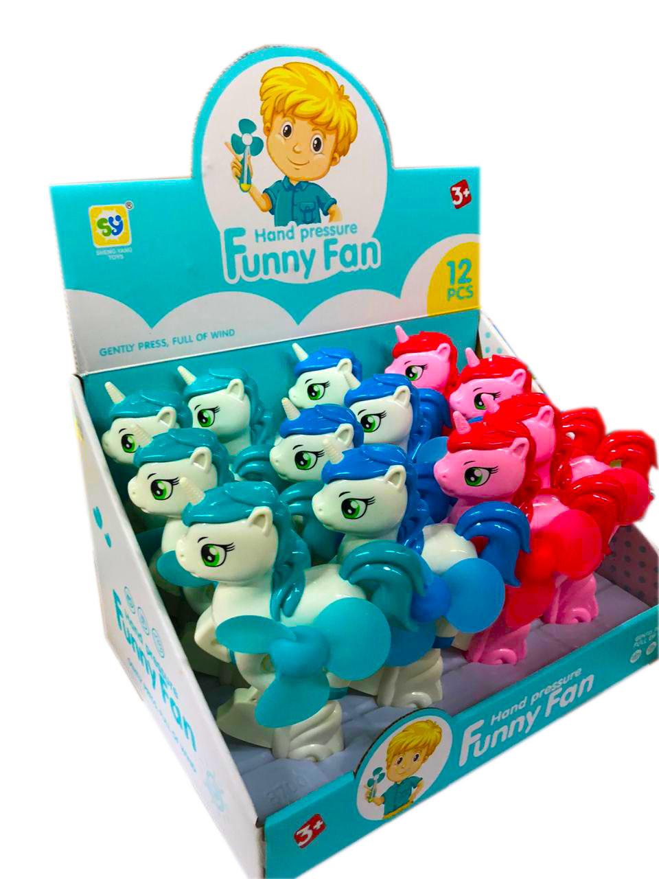 8700AA Ручной вентилятор пони Funny Fun из 12 шт 18*11см