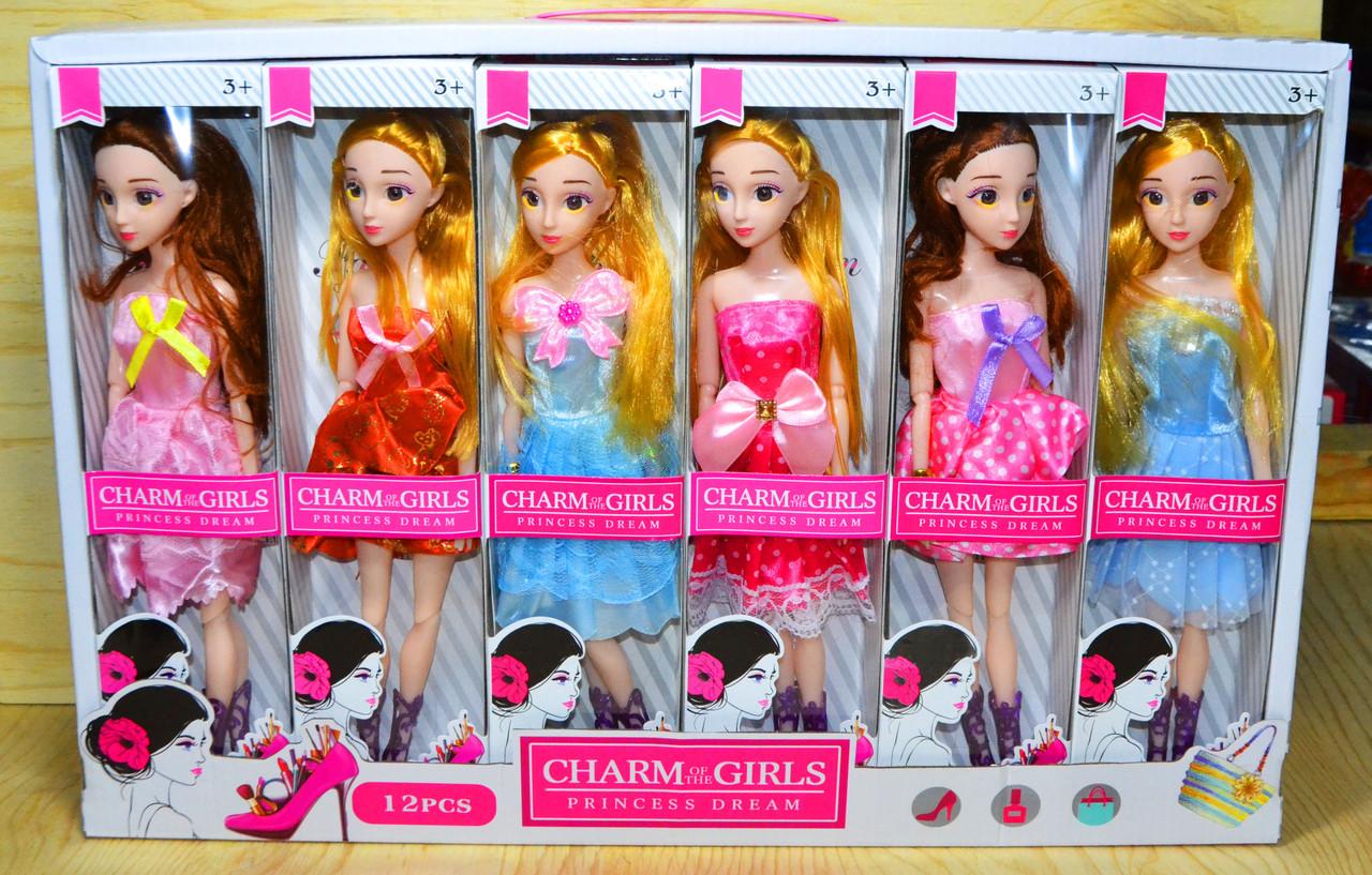 0301 Кукла сгибается в суставах Charm of the girls Princess (6 вид. 12шт в уп.) цена за 1шт 32*8см