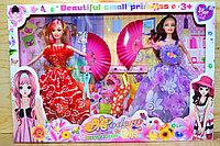 8847 Modern 2 куклы с веером,5платьев и заколка, 47*32см