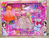 868 Modern time кукла в пышном платье с дочкой,сгибается, чемодан и аксесс., 32*42см
