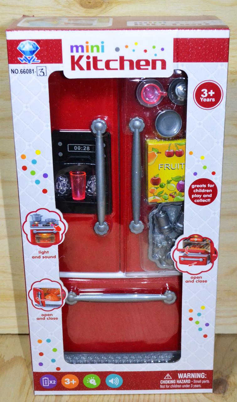 66081-3 mini kitchen красный холодильник, 33*17см