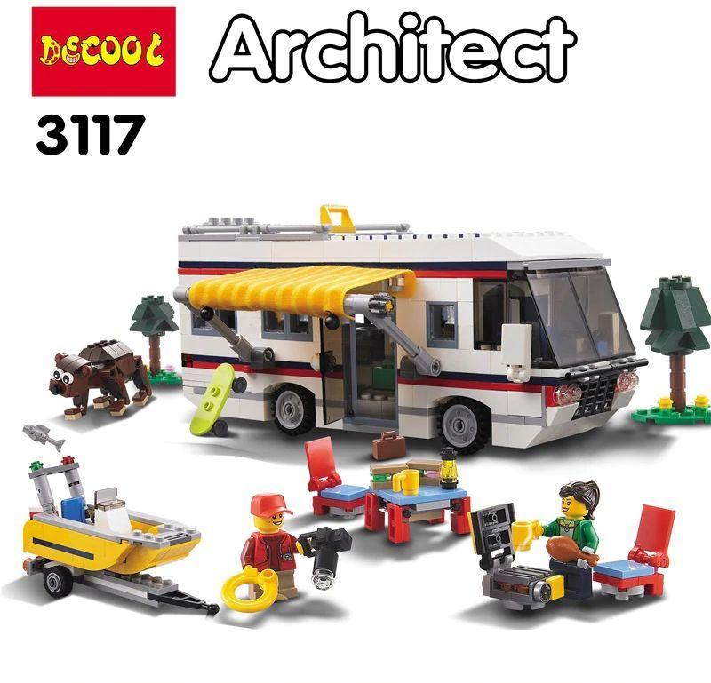 3117 Констр. Отдых на природе (можно собрать 3 модели: автобус,дом,катер) JISI BRICKS ARCHITECT 59*35см