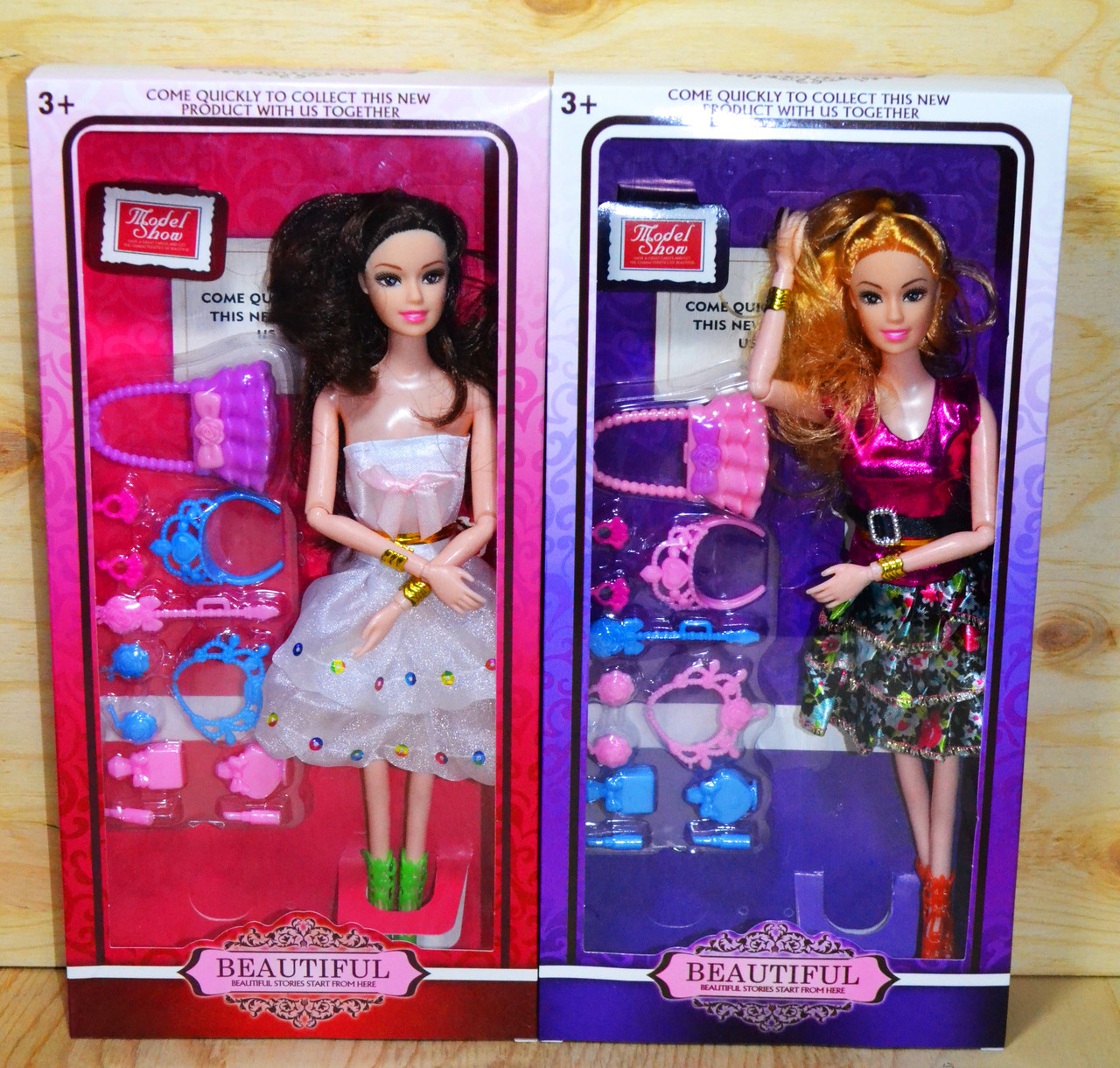 9516 Beautyful кукла в модном наряде с аксесс.,гнется в суставах,( 3вида,6шт в уп.)цена за 1шт. 32*16см