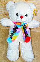 Мишка 50см разноцветный шарф в пайетках (цвет:бел,роз)