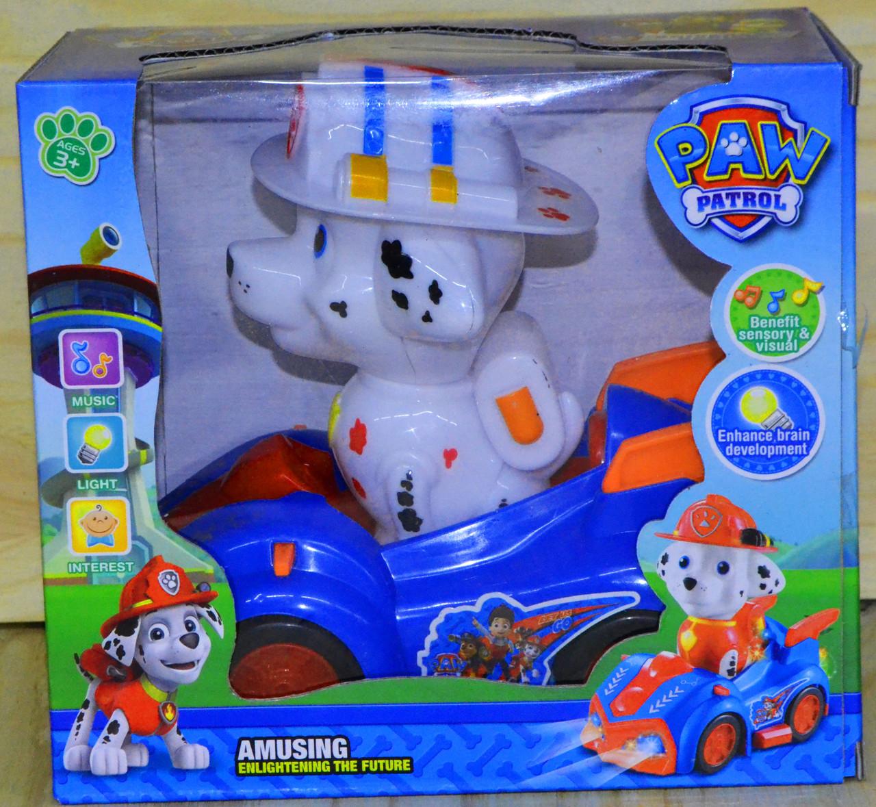 298-19 Paw patrol Щенячий патруль герой на машине,музыкальная,ездит на батарейках,звук,свет, 18*17см