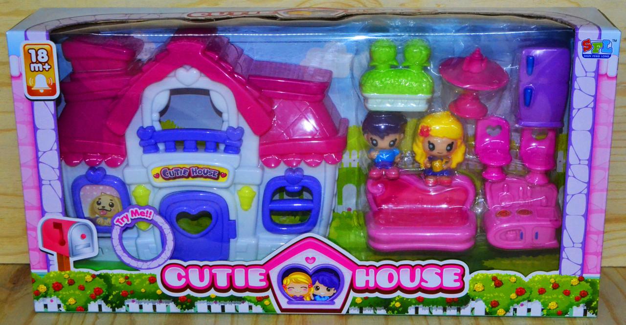 16707 Cutie House домик с мебелью,2 фигурки,звук, 49*26см