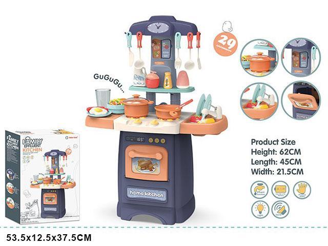 889-175 Fashion kitchen кухня с водой, свет,звук,29 предметов(62*45*21,5см), 53*37см