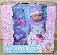 8060-571 Cute Baby пупс в вязанном комбинезоне и шапке, 9 функций, (отправ. в разобран.виде)38*36см