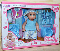 B8039 Baby Enjoi пупс с повязкой, горшок,набор для кормления, 45*33см